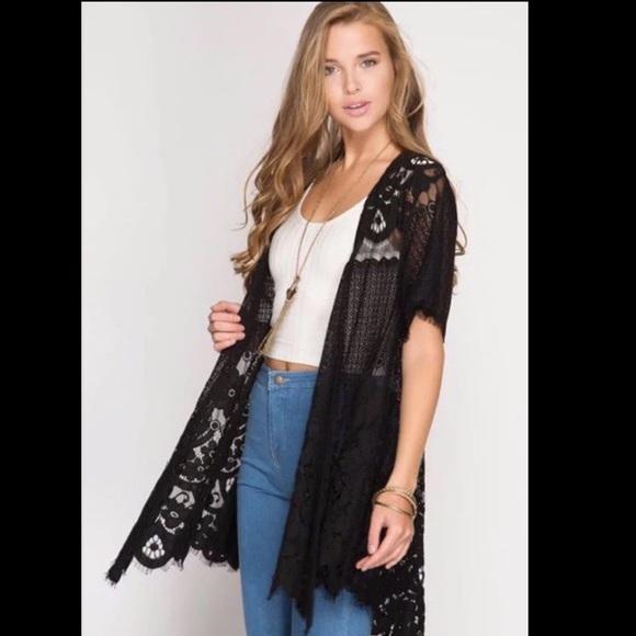 3a1e6909eaf NWT She + Sky Crochet Lace Kimono Cardigan Duster